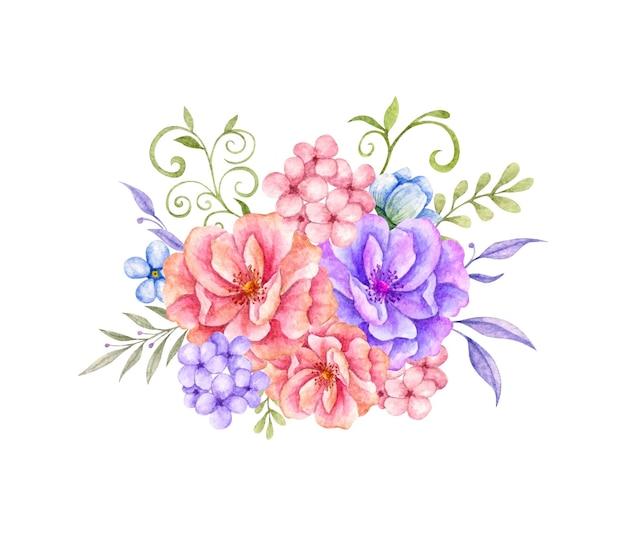 Lindo arranjo de buquê de flores e folhas