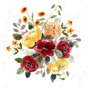 Lindo arranjo em aquarela de jardim floral vermelho amarelo
