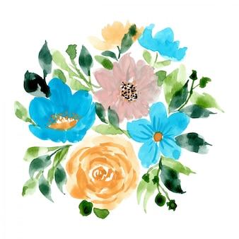 Lindo arranjo floral fundo aquarela