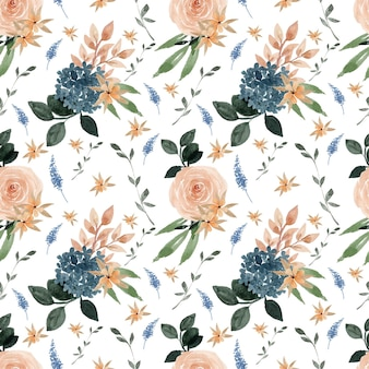 Lindo azul e pêssego padrão floral sem costura