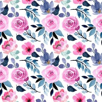 Lindo azul e rosa aquarela floral sem costura padrão