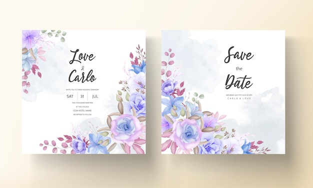 Lindo azul e roxo floral e folhas design de cartão de convite de casamento