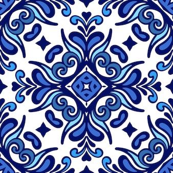 Lindo azulejo mediterrâneo sem costura de fundo islâmico vetor padrão sem emenda