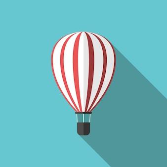 Lindo balão de ar quente listrado branco e vermelho sobre fundo azul turquesa com sombra longa. conceito de viagem, aventura, atividade e viagem. ilustração em vetor eps 8, sem transparência