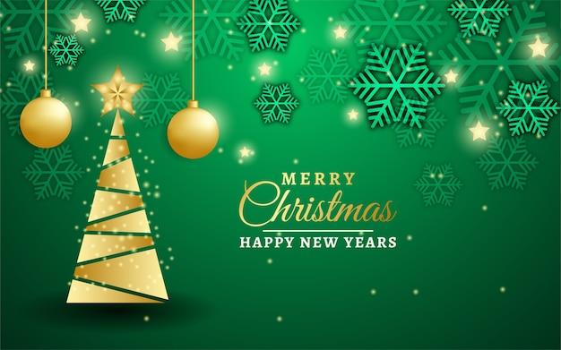 Lindo banner de feliz natal com árvore de ouro