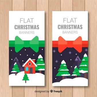 Lindo banner de natal com paisagem de inverno em design plano