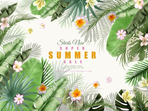 Lindo banner de verão com flores tropicais