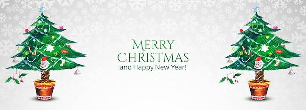Lindo banner decorativo de árvore de natal de natal