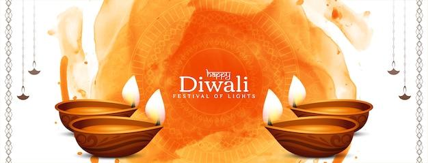 Lindo banner decorativo do festival happy diwali com lâmpadas