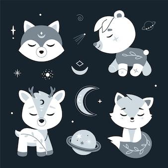 Lindo berçário com animais da floresta, estrelas. ilustração.