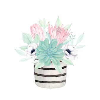 Lindo bouquet floral em aquarela com vaso de listras