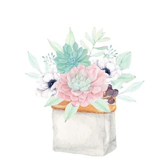 Lindo bouquet floral suculento em um saco de papel