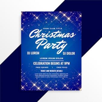 Lindo brilha panfleto de natal em fundo azul