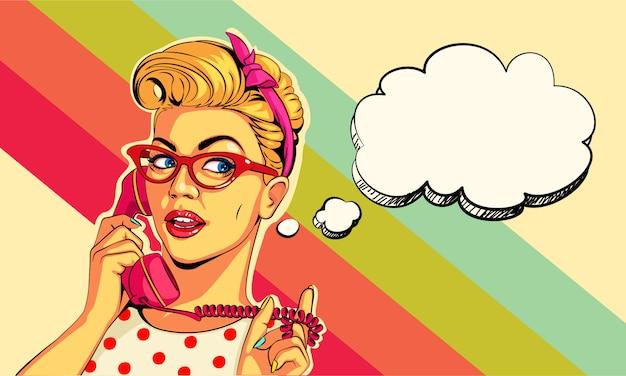 Lindo broche menina no telefone em estilo pop art