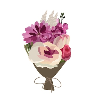 Lindo buquê com flores no jardim. decoração floral para presente. ilustração vetorial.
