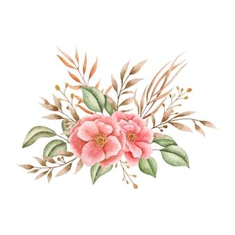 Lindo buquê de flores com folhas silvestres