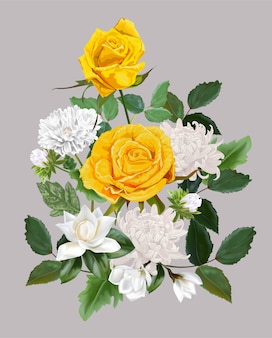Lindo buquê de flores com rosas amarelas, crisântemo e magnólia illlustration