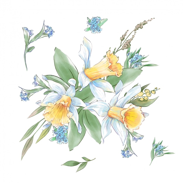 Lindo buquê de flores da primavera de narcisos e folhas