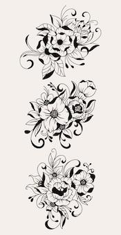 Lindo buquê de flores desenhado à mão