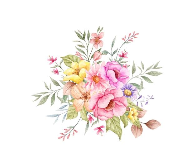 Lindo buquê de flores e folhas isolado no branco