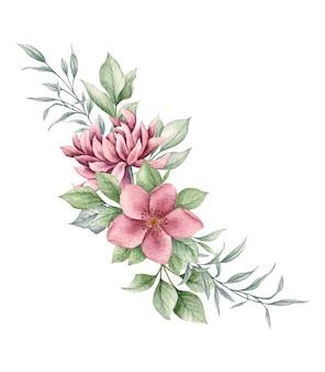 Lindo buquê de flores e folhas para cartão de dia dos namorados