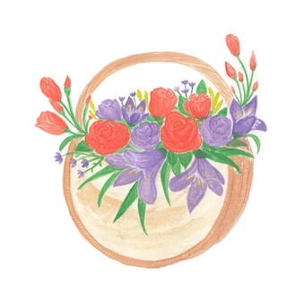 Lindo buquê de flores em aquarela com flores vermelhas e roxas