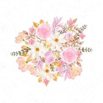Lindo buquê de flores em aquarela de outono