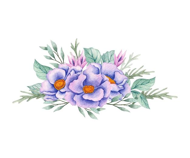 Lindo buquê de flores em aquarela para casamento