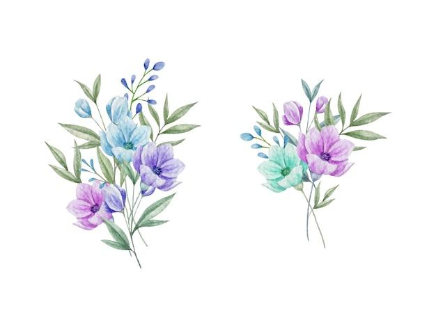 Lindo buquê de flores em aquarela pintada à mão