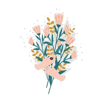 Lindo buquê de flores mãos segurando flores desabrochando ilustração do ícone de flores