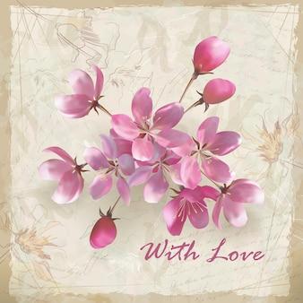 Lindo buquê de flores rosa realistas e texto com amor