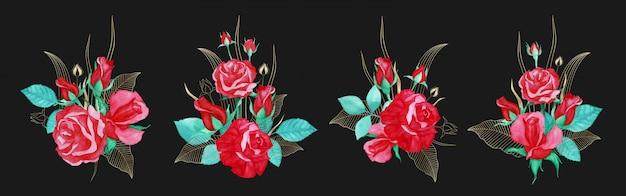 Lindo buquê de rosa vermelha aquarela com decoração de linha de ouro