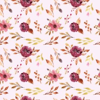 Lindo buquê floral em aquarela de borgonha padrão sem emenda para impressão