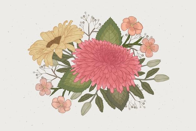 Lindo buquê floral em design vintage