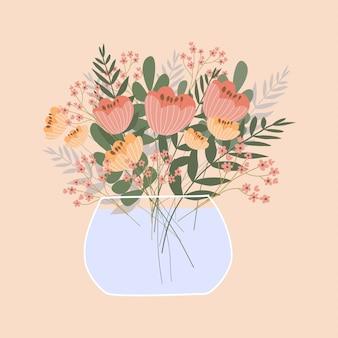 Lindo buquê romântico no vaso em fundo rosa.