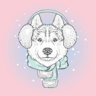 Lindo cachorro em fones de ouvido de inverno e um lenço. ano novo, ilustração vetorial.