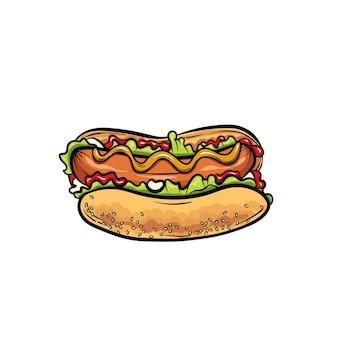 Lindo cachorro-quente realista. comida rápida.