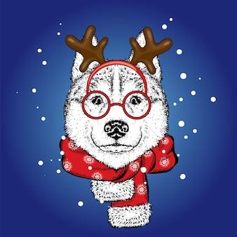 Lindo cachorro vestido de veado. ano novo, ilustração vetorial.