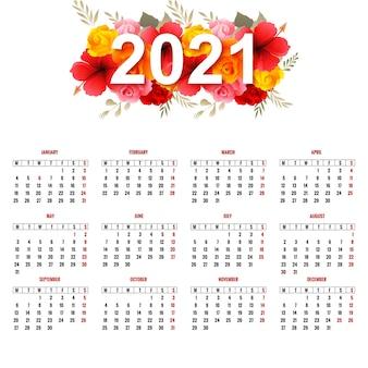 Lindo calendário de 2021 com flores coloridas