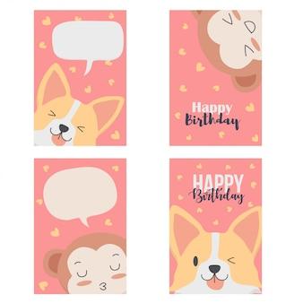 Lindo cartão com animais