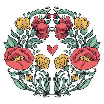 Lindo cartão com guirlanda floral. ilustração brilhante, pode ser usado como a criação de cartão, cartão de convite de casamento, aniversário e outras férias e verão bonito fundo.