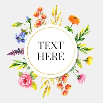 Lindo cartão com moldura de ilustração em aquarela de buquê floral