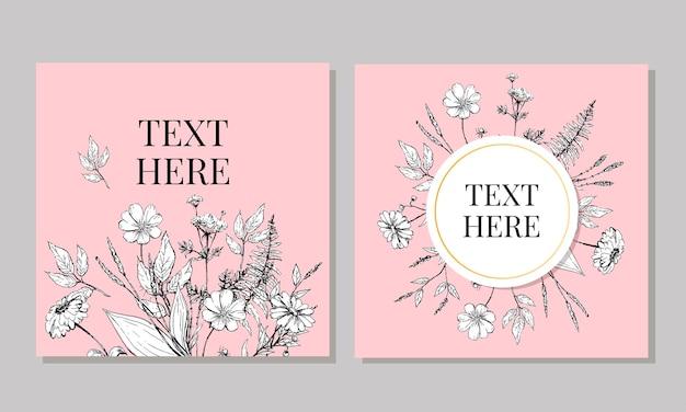 Lindo cartão com uma coroa redonda de flores diferentes