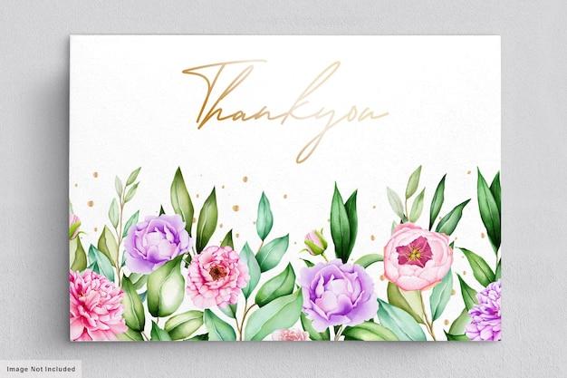 Lindo cartão de agradecimento com flores em aquarela