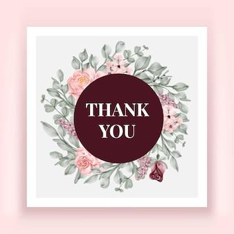 Lindo cartão de agradecimento em aquarela de flor rosa
