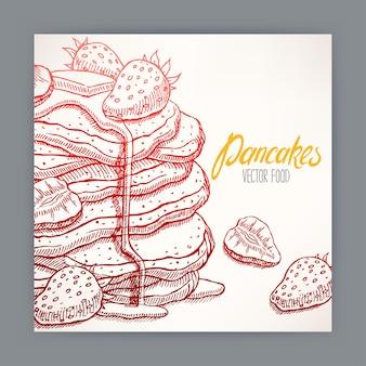 Lindo cartão de apetitosas panquecas com morango e calda.