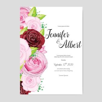 Lindo cartão de casamento com aquarela