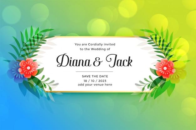 Lindo cartão de casamento com decoração de flores