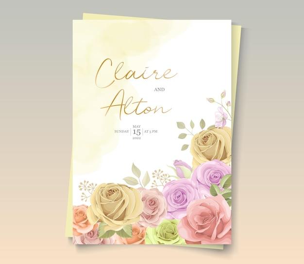 Lindo cartão de casamento com decorações florais