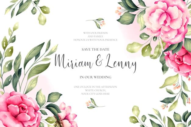 Lindo cartão de casamento com flores cor de rosa